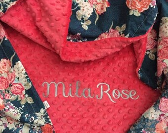 Rose Floral Baby Blanket | Personalized Baby Blanket | Name Baby Blanket | Rose Baby Blanket | Floral Blanket