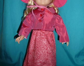18 inch doll ensemble with sunhat.