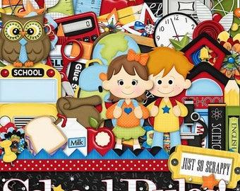 On Sale 50% Digital Scrapbooking Kit School Rules Kit - Digital Scrap Kit