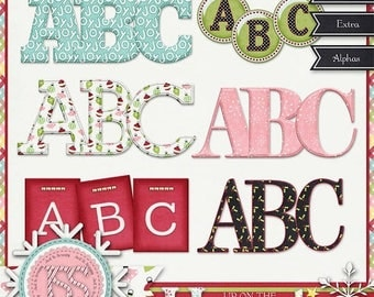 On Sale 50% Christmas,Holiday,Santa,Up On The Housetop Alphabets, Digital Scrapbooking, Scrapbook, Instant Download