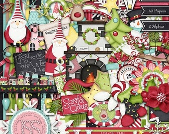 On Sale 50% Off Christmas,Holiday,Santa,Up On The Housetop Digi Scrap Kit, Digital Scrapbooking, Scrapbook