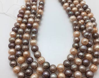 Mixed Champagne, grey, and brown Potato Pearls