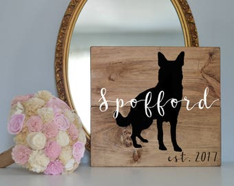 Last Name Wood Sign with German Shepherd Silhouette, Wood Plank Last Name Sign, Wedding Last Name Sign, Dog Wedding Sign, Last Name Sign Dog