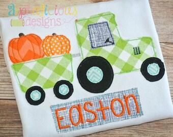 Pumpkin Patch Tractor Applique, Pumpkin Tractor Applique, Pumpkin Tractor Shirt