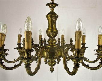 XL Bronze 10 Arm Lights Chandelier Hollywood Regency Exceptional Working
