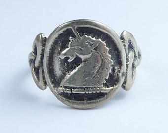 Silver unicorn ring