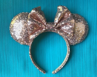Rose Gold Full Sequin Minnie Mouse Ears