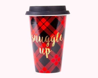 Red Plaid Travel Mug | Gold Foil Holiday 2017 AVAILABLE NOW!