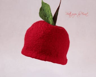 Felted newborn hat red fruit cap cherry apple baby photography props photo prop merino wool organic