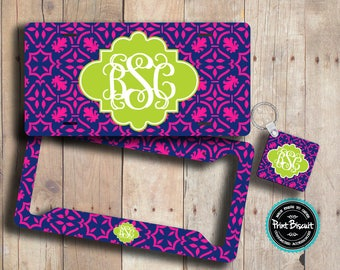 Monogram License Plate,Lilly Pulitzer Inspired License Plate Frame, Front License Plate, Damask Front Car Tags,Key Chain, Car Tags 43LTe