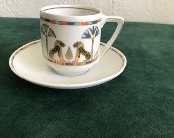 Unusual Egyptian Design Rosenthal Porcelain Demitasse Cup and Saucer