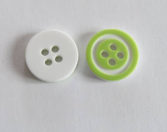 Pretty pale green and white button with circle front