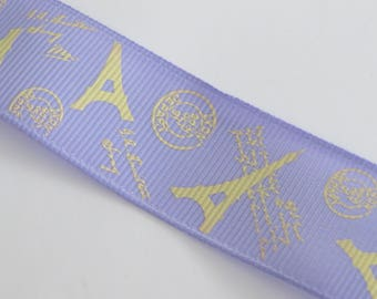 Pretty pale purple Ribbon with pale yellow Eiffel Tower motif