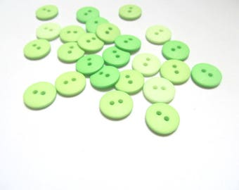 Mixed green 15mm buttons: pack of 25  2 holed plastic buttons. Embellishment for craft, sewing, dress making, scrapbook, smash book B43