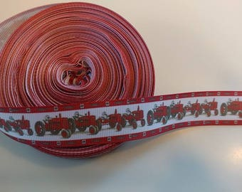 Red tractor 7/8th grosgrain ribbon for 1 yard