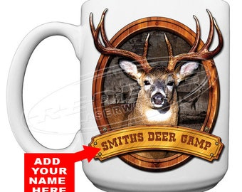 Personalize Deer Camp 15 oz. Coffee Mug