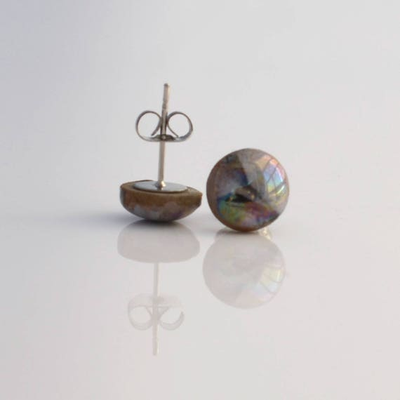 Dark Marbled earring studs with Mother of Pearl lustre