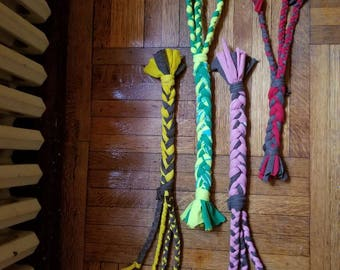 Upcycled Tee-shirt Tug Toy for Dogs, multistrand