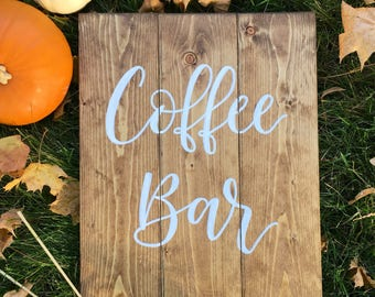 Coffee Bar Rustic Wood Sign - Coffee Sign - Early American Stain -  Farmhouse Sign - Fall Sign