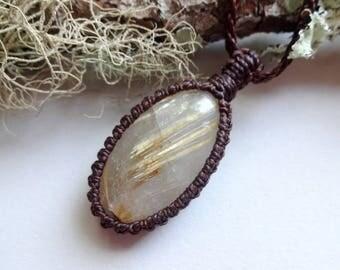 Macrame with Rutile Quartz -Golden Rutile Quartz pendant-macrame pendant necklaces - gem jewelry- Chakra necklaces - All chakras amulet