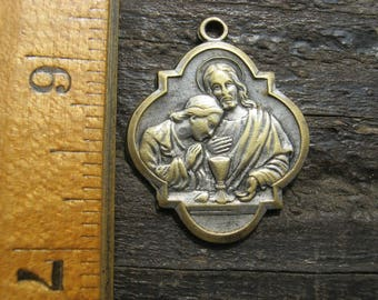 French Religious Medal, Communion Medal, Ricordo Della Comunione, French Religious Pendant, PLEASE READ DESCRIPTION
