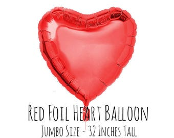 "32"" Metallic Red Foil Mylar Heart Balloon, Heart Shaped Balloon, Engagement Party, Bridal Shower, Anniversary, Wedding Decor, Reception"