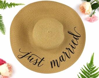 Floppy Sun Hat - Sequin Sun Hat - Bride Hat - Beach hat - Custom floppy hat - Bride to be hat - wifey hat - Just Married Hat - Honeymoon