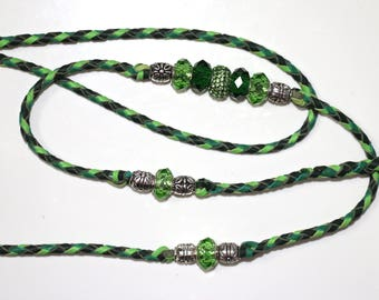 "Lime, Forest and Jade green 36"" hand braided kangaroo leather dog show leash/lead clip or loop with beads"