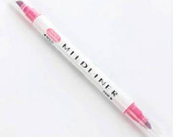 Twin tip Mildliner highlighter pen in Pink