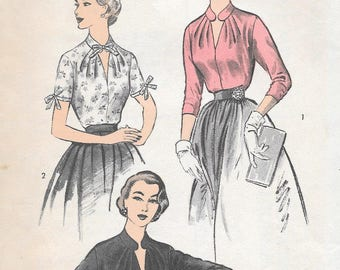 Vintage 1950s Advance Sewing Pattern 6326 - Misses' Blouse size 16 bust 34