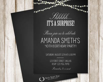 Surprise Birthday Party Invitation, Black and White Invitation, Change to any color, Adult Birthday Invitation, Shhhh, DIGITAL FILE ONLY