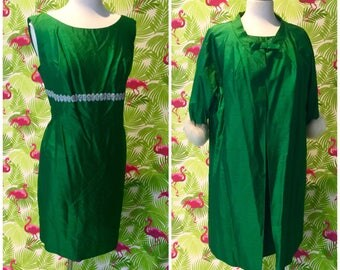 Vintage 1960's green silk dress and coat