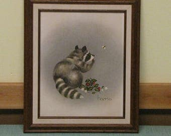 Raccoon Painting The Berry Bandit Artist Hams Vintage Whimsical Home Décor