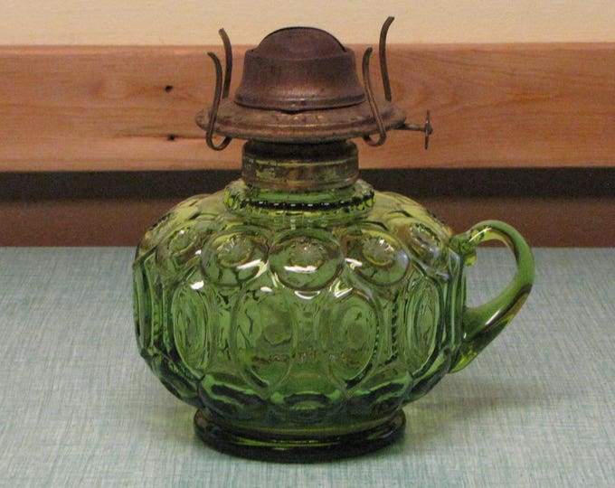 Green Moon and Stars Hurricane Lamp Vintage Depression Glass Home Décor and Lighting