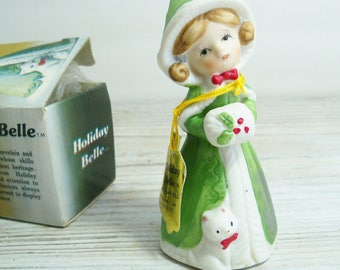 Vintage Christmas Holiday Belle, Bisque Porcelain Bell, made by Jasco in Taiwan in 1978 - in Original Box