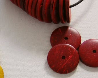 coconut disks,coco shell,coco nut,coco nut coins,coco coins,coconut wheels,disk beads,wood disks,red beads,red coco disks,organic,natural