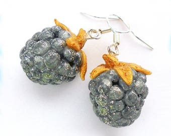 Silver raspberries, Raspberries, Silver blackberry, Blackberry, Silver berry, Berry, Raspberries earrings, Blackberry earrings