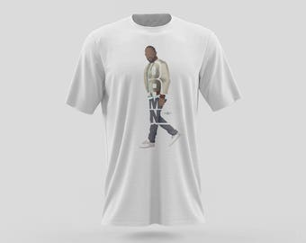 "Kendrick Lamar T-Shirt Typography Design of Rapper With His Album named ""DAMN,"" Gift For Him and Her Shirts in Black or White"