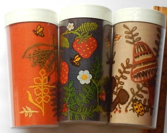Kitschy Trio of Vintage Thermo Serv Tumblers Made in the USA!