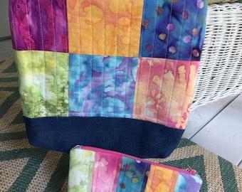 Quilted Multi-colored Batik Charm and Denim Scrappy Tote Purse Handbag