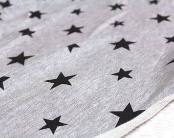 Black Stars Baby Terry Knit Fabric by Yard, Width 180cm (70 Inch)