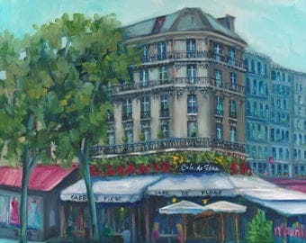 Cafe de flore, original art, oil painting, landscape,