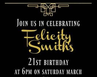 Gatsby Themed Black and Gold Invitation ~ DIGITAL FILE