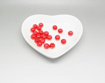 12 red 6 mm crackle cracked glass beads