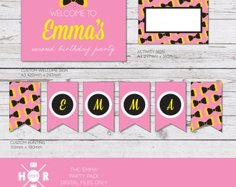 Printable - The 'Emma' Wiggles Birthday Party Pack | Bow Decorations | Custom Bunting | Cupcake Toppers | Labels | Wrappers