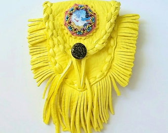 Fringed Leather Medicine Bag~ Beatles Yellow Submarine themed belt bag~ Leather Hippie amulet pouch~ Groove Bag~ Yellow leather bag