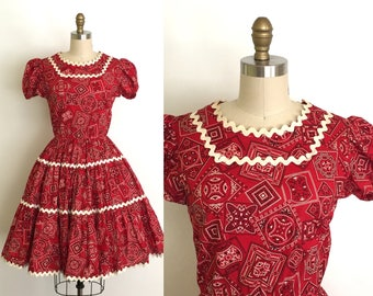 Vintage 1950s Dress // 50s Red Bandana Patio Dress // Squaw Style Circle Skirt // Size Small Medium // Back to School // Valentine's Day