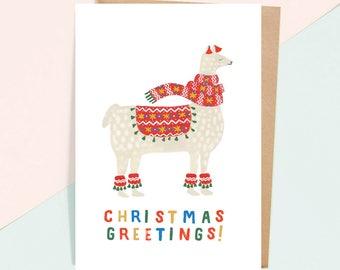 Llama Christmas Greeting Card