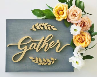 Gather Wood Sign - gather - fall home decor - housewarming gift - FREE SHIPPING - Ships anywhere in USA