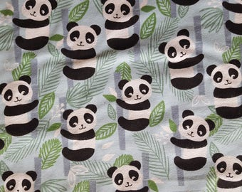 Happy Pandas Flannel Fabric by the yard